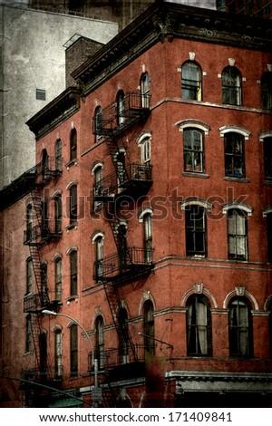 vintage grunge image of new york city - stock photo