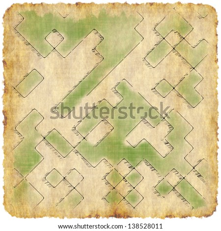 Vintage grunge paper with abstract map texture background. - stock photo