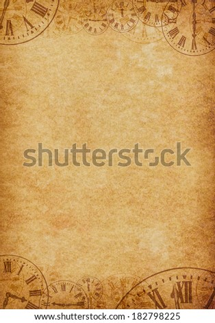 Vintage Grunge Parchment Background with Clock Faces Portrait - stock photo