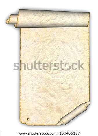 Vintage grunge rolled parchment illustration (natural paper texture) - stock photo