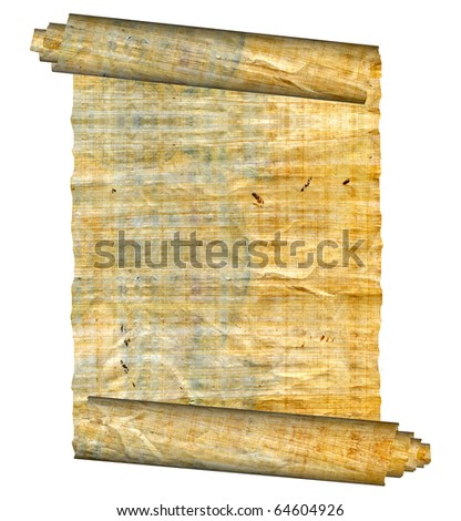Vintage grunge rolled parchment illustration with ragged borders - stock photo