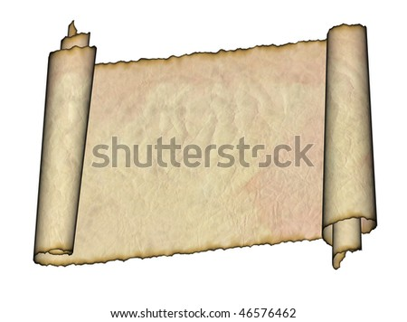 Vintage grunge rolled parchment illustration with ragged borders (natural paper texture)