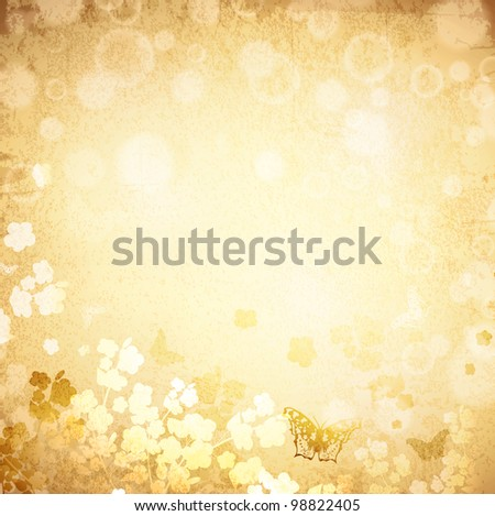 Vintage grunge spring background with butterflies and flowers silhouette - stock photo