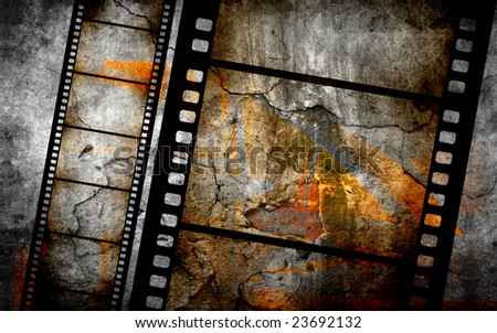 vintage grunge textures and backgrounds for your projects with filmstrip and graffiti decoration - stock photo