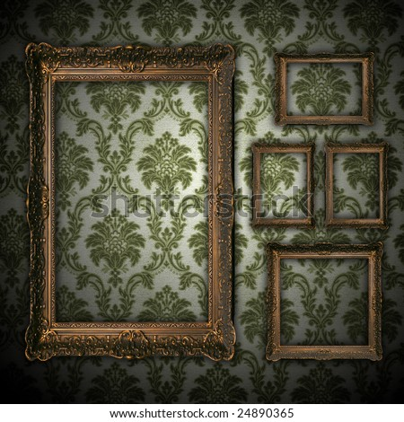 vintage grunge wall background with empty gold paiting frame - square format - stock photo