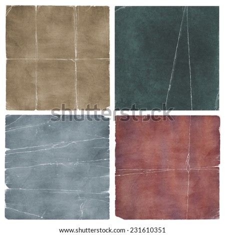 Vintage grunge worn square canvas fabric and paper set collection - stock photo
