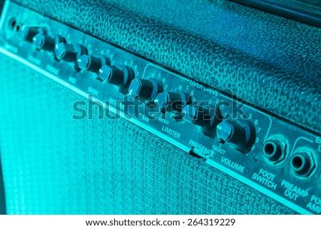 Vintage guitar amplifier - stock photo