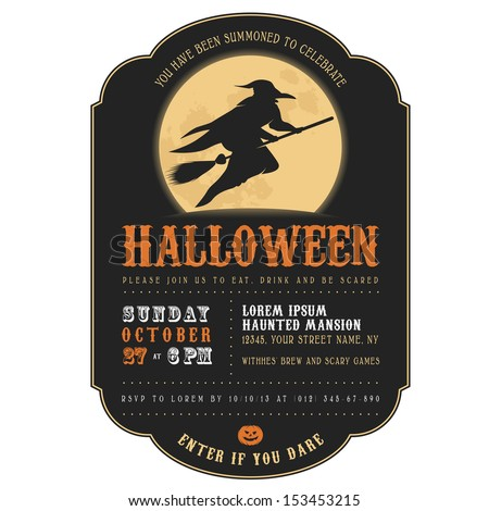Vintage Halloween invitation with witch flying on a broom  - stock photo