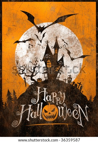 Vintage Halloween metal sign/poster. Illustration. - stock photo