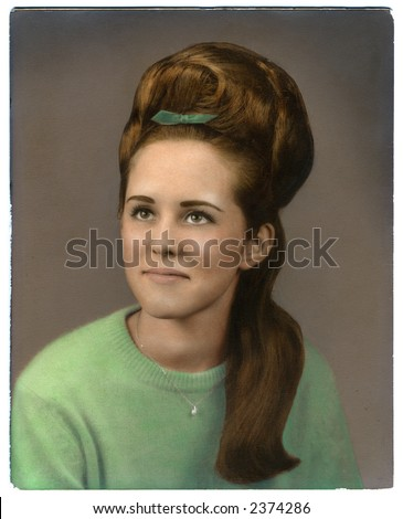 vintage hand-colored high school photo - stock photo