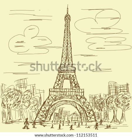 vintage hand drawn illustration of eifel tower, Paris France tourist destination.