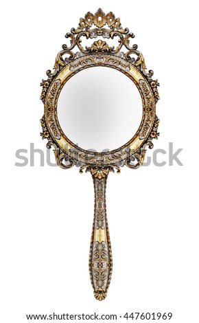 Vintage hand mirror isolated on white - stock photo