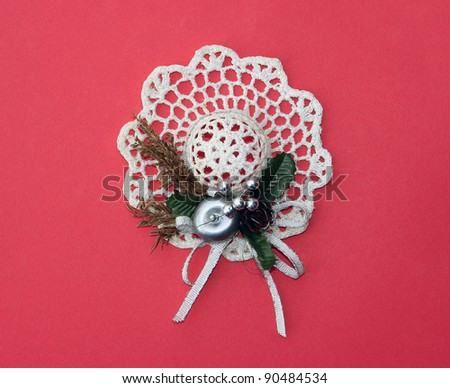 Vintage Handmade Fancy Holiday Christmas Hat decoration with ribbon / bow design - stock photo