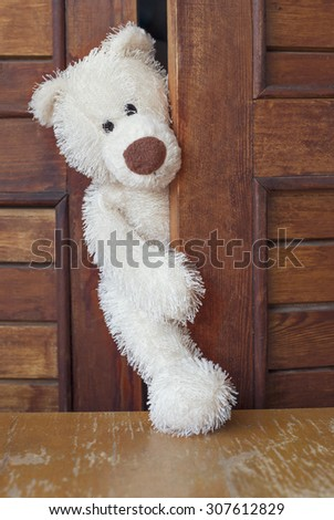 Vintage handmade Teddy Bear looks out of the closet door. - stock photo