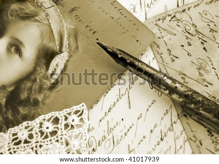 Vintage handwriting in sepia tone, close up - stock photo