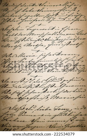 vintage handwriting. page of old poetry book. manuscript. aged paper background - stock photo