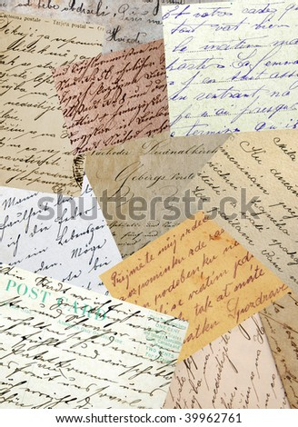 Vintage handwriting samples collage - stock photo