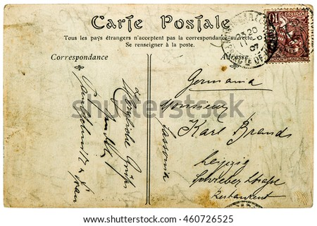 Vintage handwritten postcard letter with unreadable undefined text. Used paper texture background