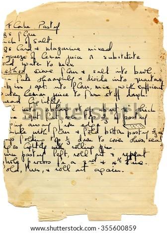Vintage handwritten recipe - stock photo