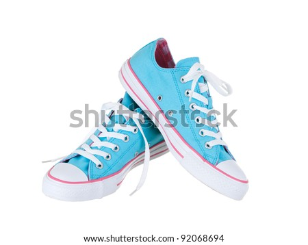 Vintage hanging blue shoes on pure white background - stock photo