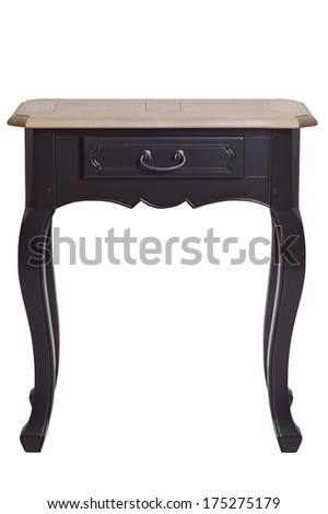vintage hard wood small table with drawer isolated on white background - stock photo