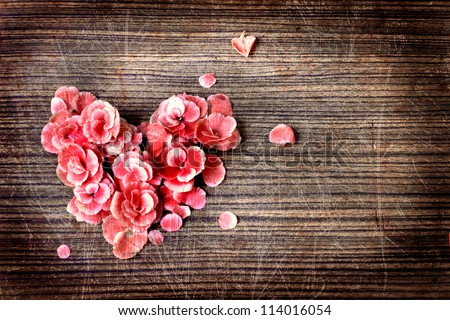 vintage heart flowers on wooden tablevintage stock photo, Beautiful flower