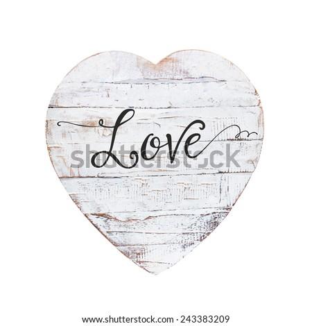vintage heart isolated on white background - stock photo