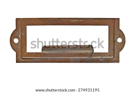 vintage heavy patina brass label name pull plate, clipping path, space for your text - stock photo