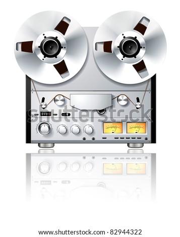 Vintage Hi-Fi analog Stereo reel to reel tape deck player / recorder on white - stock photo