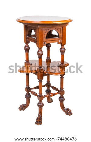 vintage high wooden table, isolated on white - stock photo