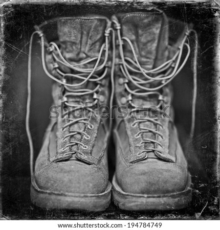 Vintage Hiking boots - stock photo