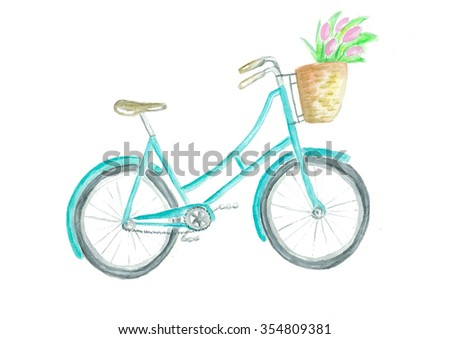 Vintage hipster bright mint bicycle with basket of flowers, hand pained retro bike watercolor, cute transport. - stock photo
