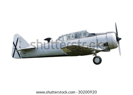 vintage historic old war aircraft in a background - stock photo