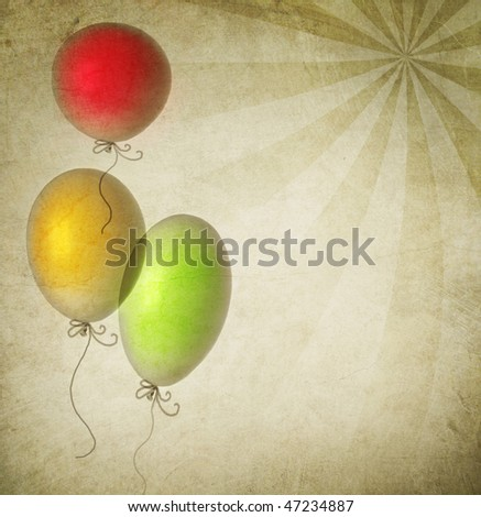 Vintage Holiday Background with Balloons - stock photo