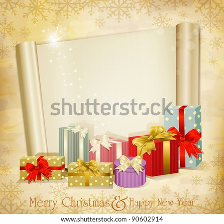 vintage holiday invitation with many gifts and scroll (JPEG version) - stock photo