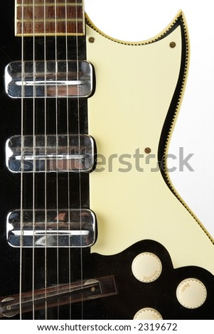 Vintage hollow body electric guitar - stock photo