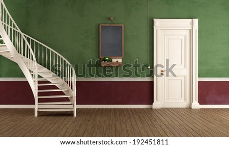 Vintage home entrance with circular staircase and closed door - rendering - stock photo
