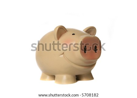 Vintage Homely Piggy Bank on White Background