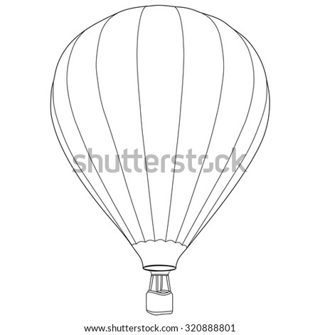 Vintage hot air balloon with basket raster icon isolated, summer sport, outline drawings - stock photo