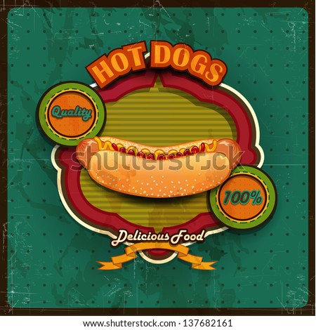 Vintage Hot dogs label illustration - stock photo