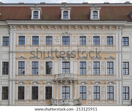 Vintage house facade, Dresden, Saxony Germany - stock photo