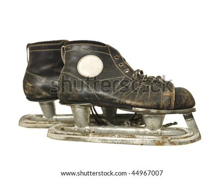 Vintage ice skates isolated on white background - stock photo