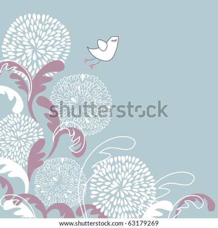 Vintage illustration of cute bird on the flowers - stock photo