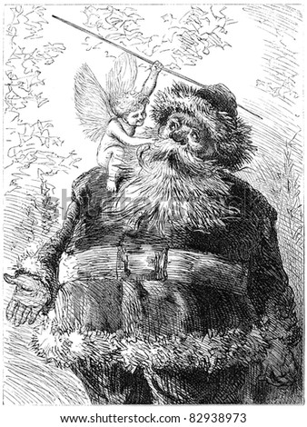 Vintage illustration of Santa Claus. Illustration by unknown artist, published in Harper's Monthly january 1872. - stock photo