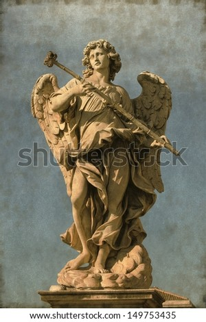 Vintage image of an Angel statue in Saint Angel bridge. Rome, Italy - stock photo