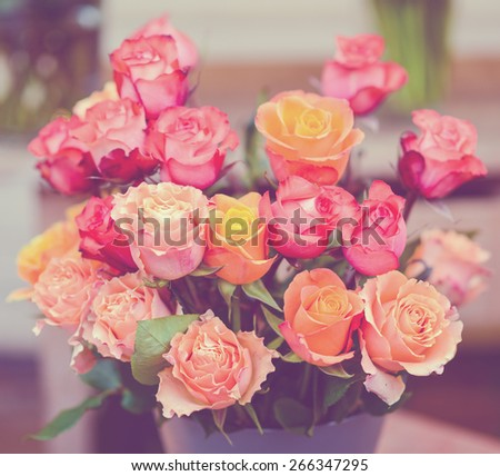 Vintage image of bouquet with multicolored roses - stock photo