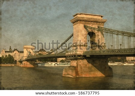 Vintage image of Chain Bridge in Budapest, Hungary - stock photo