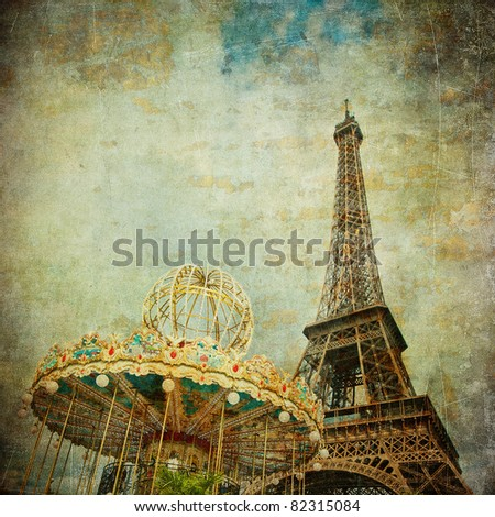 Vintage image of Eiffel tower, Paris, France