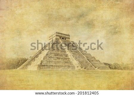 Vintage image of El Castillo or Temple of Kukulkan pyramid, Chichen Itza, Yucatan, Mexico - stock photo