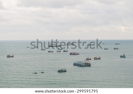 Vintage image of many Fishing Vessel in the Sea - stock photo